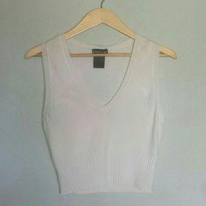 bebe White Thin Knit Crop Sweater